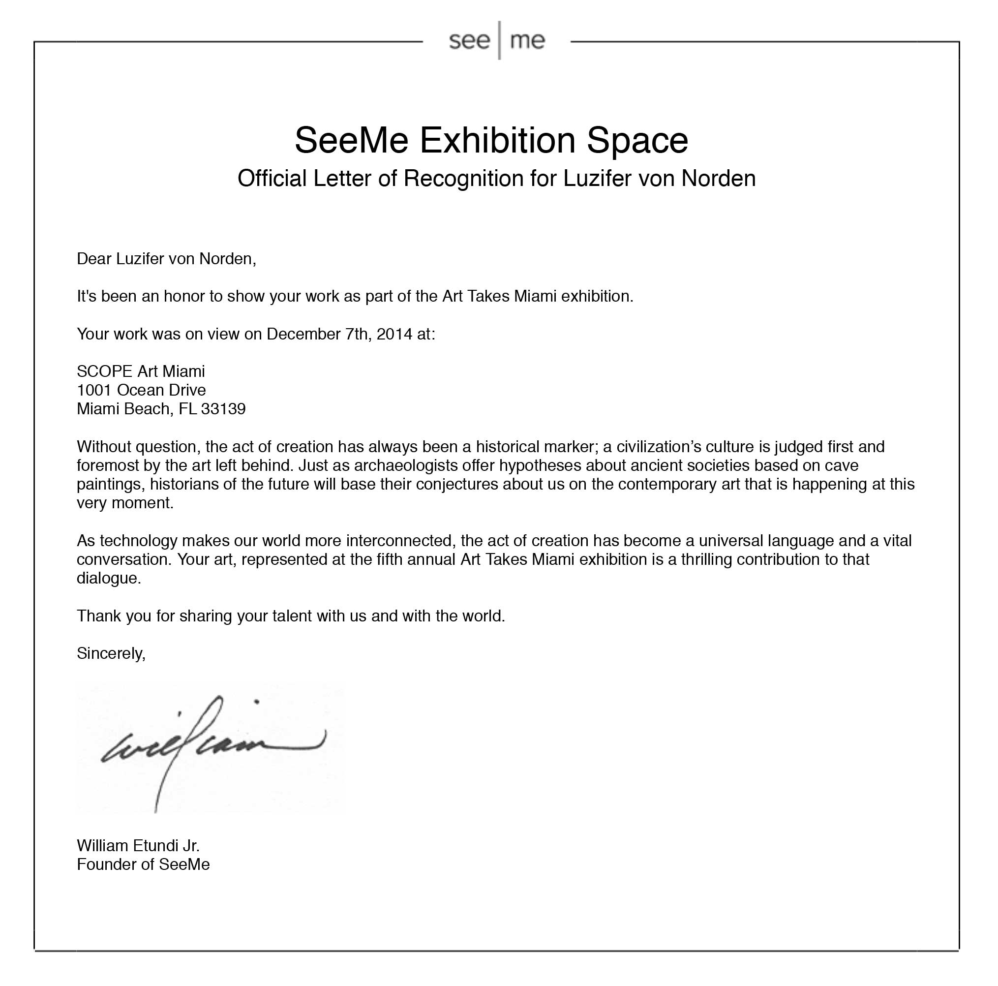 Luzifer von Norden your Letter of Recognition for participating in Art Takes Miami